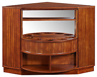 SEI Mid-Century Modern Corner Bar Cabinet, , large