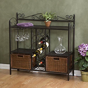 SEI Bakers Rack with Wine Storage, , rollover