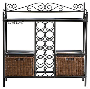 SEI Bakers Rack with Wine Storage, , large