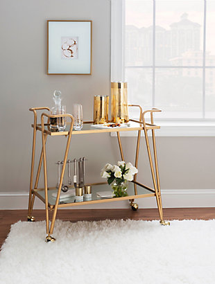 Linon Aubrey Gold Mid-Century Bar Cart, , large