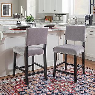 Linon Wes Dark Gray Washed Velvet Counter Stool, Dark Gray, large
