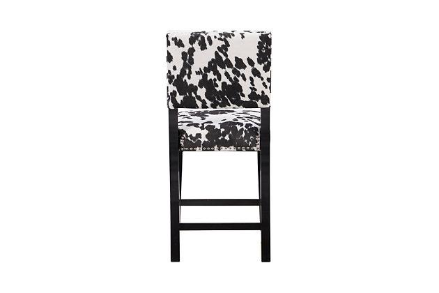 Linon Wes Black Cow Print Counter Stool, Black/White, large