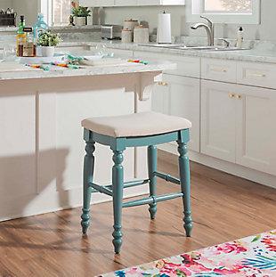 Linon Meritt Blue Backless Counter Stool, Antique Blue, rollover