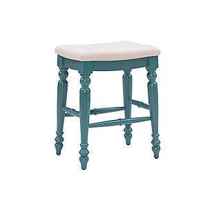 Linon Meritt Blue Backless Counter Stool, Antique Blue, large