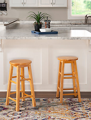 Linon Cyrus Round Counter Stool, Natural, rollover