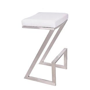 "Armen Living Zephs 26"" Counter Barstool in Brushed Stainless Steel Finish, White, large"