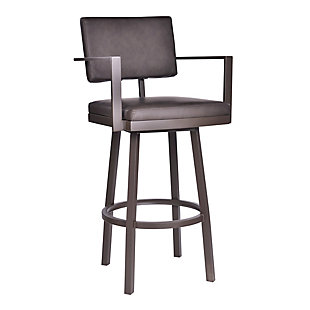 Armen Living Stout Counter Height Barstool in Brown Powder Coated Finish, Brown, large