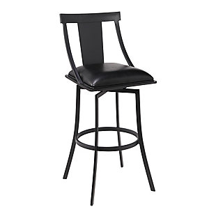 "Armen Living Mitchell 26"" Counter Height Barstool in Matte Black Finish, Black, large"