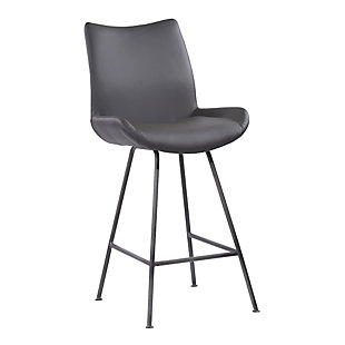 "Armen Living Margarite 26"" Counter Height Barstool in Brushed Gray Finish, Dark Gray, large"