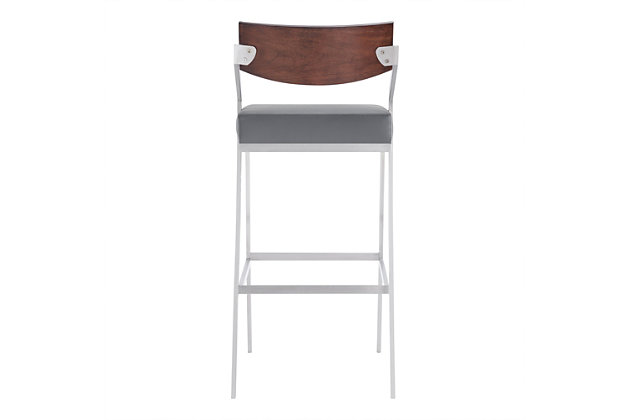 "Armen Living Luna 26"" Counter Height Barstool in Brushed Stainless Steel, Gray, large"