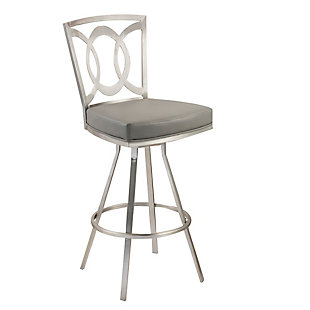 "Armen Living Mirage 26"" Swivel Barstool In Gray and Stainless Steel, , large"