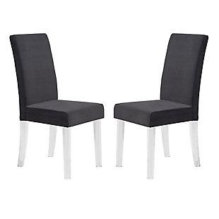 Armen Living Carmella Modern Dining Chair in Black Velvet (Set of 2), Black, large