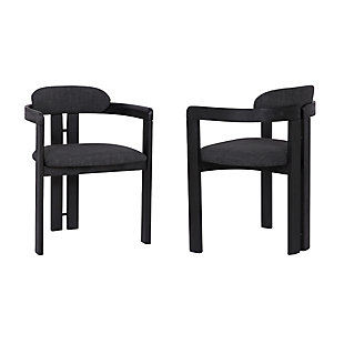 Armen Living Cabo Dining Chair in Black Brushed Wood Finish (Set of 2), Black, large