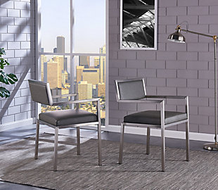 Armen Living Clarity Dining Chair Brushed Stainless Steel (Set of 2), , rollover