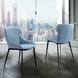 Armen Living Brady Modern Dining Chair in Matte Black Finish (Set of 2), Blue, rollover