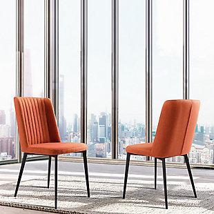 Armen Living Boyle Dining Chair in Matte Black Finish (Set of 2), Orange, rollover