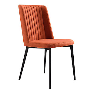 Armen Living Boyle Dining Chair in Matte Black Finish (Set of 2), Orange, large