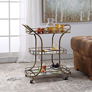 Uttermost Stassi Gold Serving Cart, , rollover