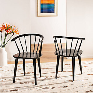 "Saddle 18"" Curved Spindle Side Chair (Set of 2), Black, rollover"
