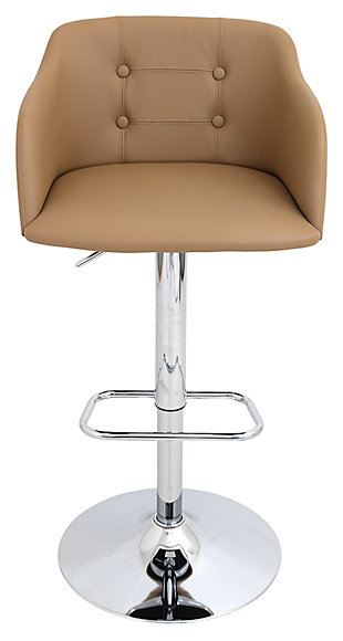 LumiSource Campania Adjustable Bar Stool, Brown, large