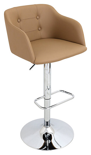 LumiSource Campania Adjustable Bar Stool, Brown, rollover
