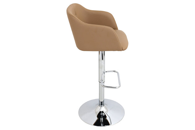 Campania Adjustable Bar Stool, Brown, large