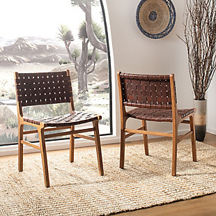 Lattice Woven Leather Dining Chair (Set of 2), Cognac/Natural, rollover