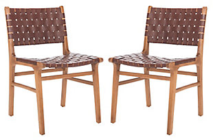 Lattice Woven Leather Dining Chair (Set of 2), Cognac/Natural, large