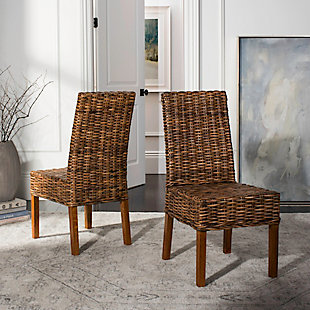 """Ian 18"""" Rattan Side Chair (Set of 2), Brown, rollover"""