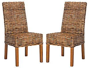 "Ian 18"" Rattan Side Chair (Set of 2), Brown, large"