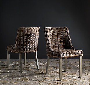 """Emilion 18"""" Wicker Dining Chair With Leather Handle (Set of 2), , rollover"""