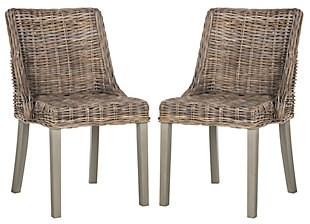 "Emilion 18"" Wicker Dining Chair With Leather Handle (Set of 2), , large"