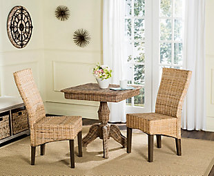 "Slyvia 19"" Wicker Dining Chair (Set of 2), Natural, rollover"