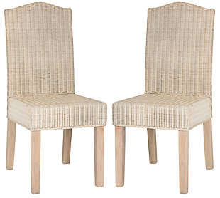 "Felicia 19"" Wicker Dining Chair (Set of 2), White Wash, large"