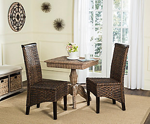 "Tabitha 18"" Wicker Dining Chair (Set of 2), Brown/Multi, rollover"