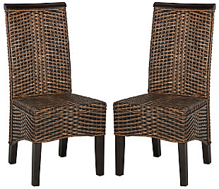 "Tabitha 18"" Wicker Dining Chair (Set of 2), Brown/Multi, large"