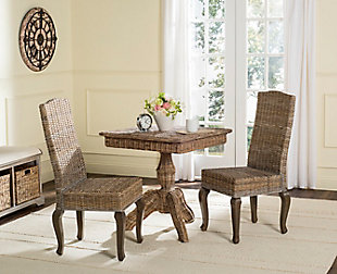 "Tintori 18"" Wicker Dining Chair (Set of 2), Gray, rollover"