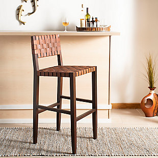 Valria Woven Leather Barstool, , rollover
