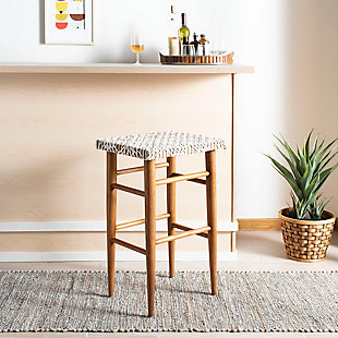 Velli Woven Leather Barstool, , rollover