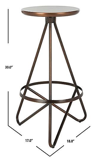 Verdana Modern Bar Stool, Antique Copper, large