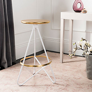 Verdana Modern Bar Stool, White/Gold, rollover