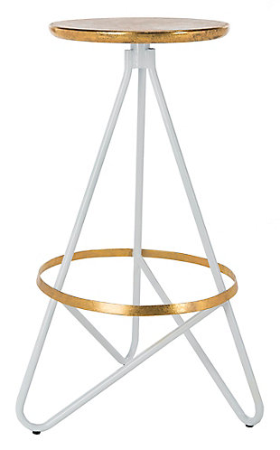 Verdana Modern Bar Stool, White/Gold, large
