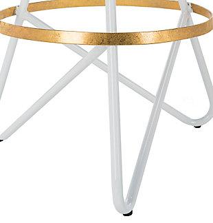 Verdana Modern Bar Stool, White/Gold, large