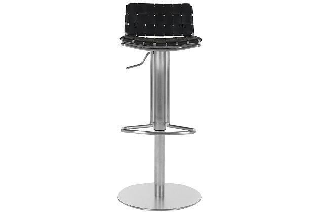 Bacci Swivel Adjustable Bar Stool, Black, large