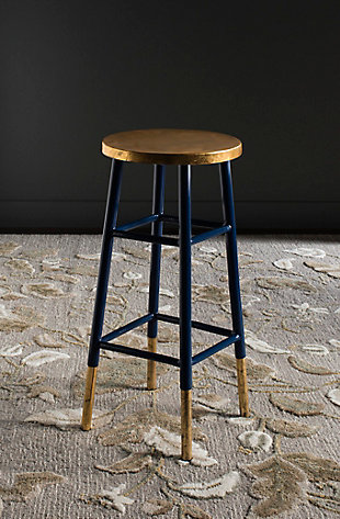 Warren Gold Finish Bar Stool, Navy/Gold, rollover