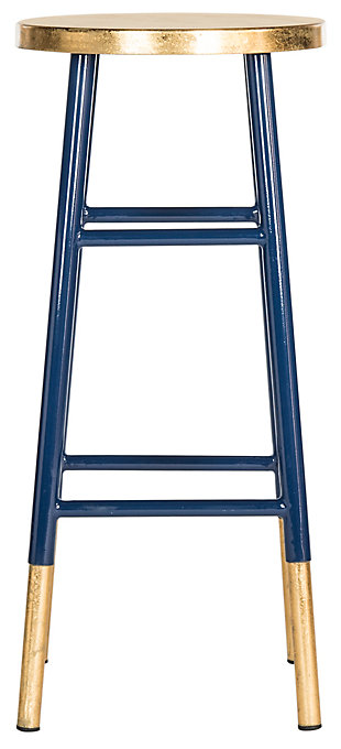 Warren Gold Finish Bar Stool, Navy/Gold, large