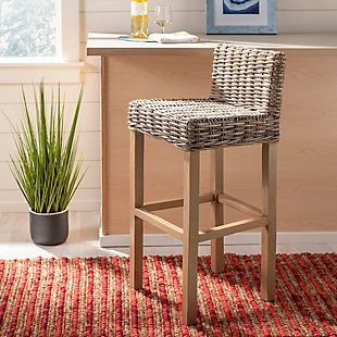 Porto Rattan Bar Stool, Antique Gray, rollover