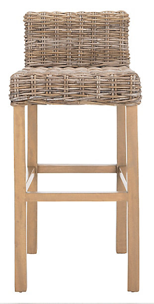 Porto Rattan Bar Stool, Antique Gray, large