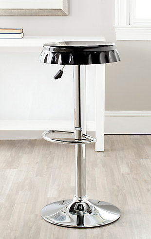 Bottle Cap Swivel Bar Stool, Black, rollover