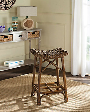 Woven Wicker Bar Stool, Natural Brown, rollover